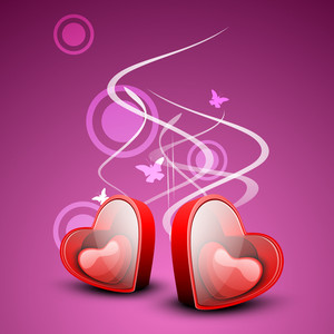 Red Valentines Hearts In Boxes On Beautiful Pink Creative Background. Love Concept.