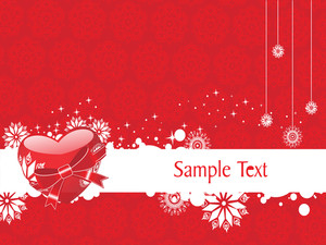 Red Vector Heart Knoted With Ribbon And Sample Text