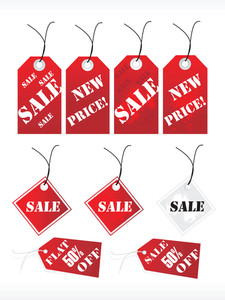 Red Vector Shoping Tags