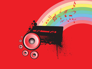 Red Wallpaper With Rainbow And Speakers