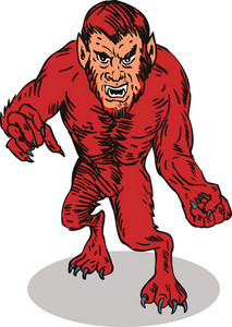 Red Werewolf Monster