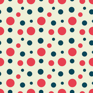 Red, White, And Blue Retro Nautical Polka Dots Pattern