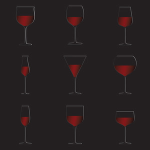 Red Wine Glasses Black Background