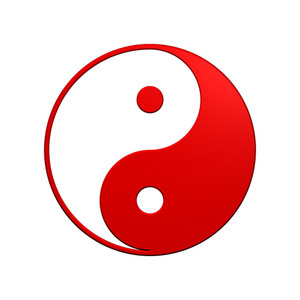 Red Yin-yang, Symbol Of Harmony.