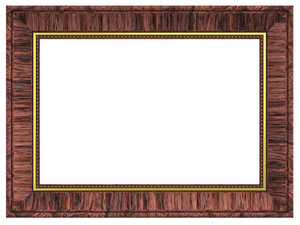 Redwood With Gold Rectangular Frame Isolated On White Background.