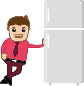 Refrigerator Sales Man - Vector Illustration