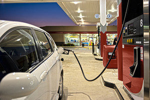 Refueling Automobile At Gas Station Convenience Store