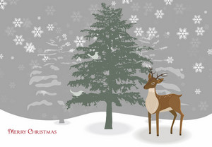 Reindeer With Tree Vector Illustration
