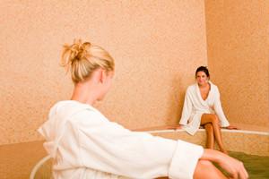 Relax bath healthy spa two beauty woman sitting bathrobe pool