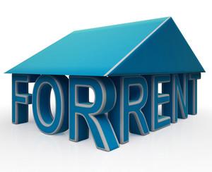 Rent Sign Under House Shows Rental Property
