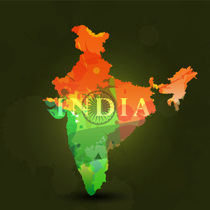 Republic Of India Map In Indian Flag Color.