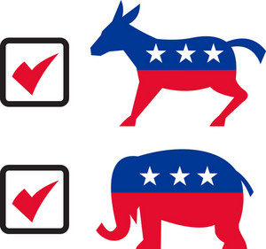 Republican Elephant Democrat Donkey Election Ballot