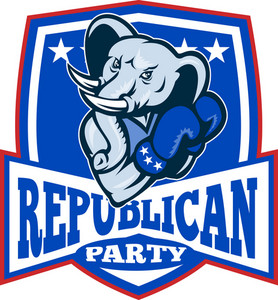 Republican Elephant Mascot Boxer Shield