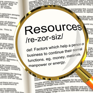 Resources Definition Magnifier Showing Materials Assets And Manpower For A Business