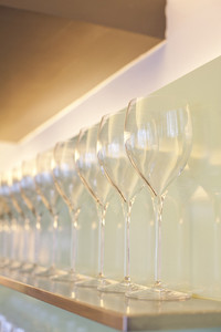 Restaurant rack with  wine glasses