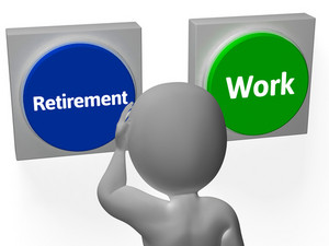Retirement Work Buttons Show Pensioner Or Employment