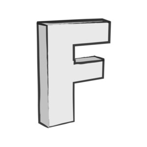 Retro 3d Alphabet F Text Vector
