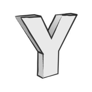 Retro 3d Alphabet Y Text Vector