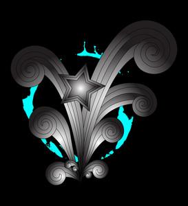 Retro Abstract Star Flourish Splash Background