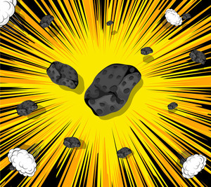 Retro Asteroids Stones Sunburst Background