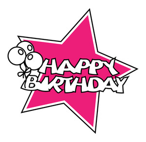 Retro Balloons Birthday Star Banner