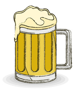Retro Beer Mug Vector Drawing