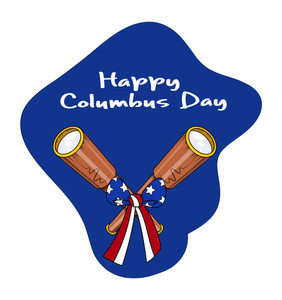 Retro Binocular With Ribbon Bow Columbus Day Background