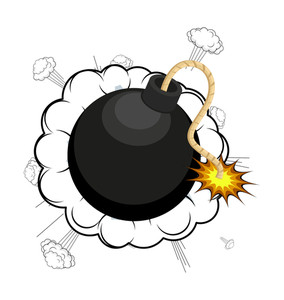 Retro Bomb With Burst Clouds Vector