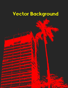 Retro Building With Palm Tree Vector