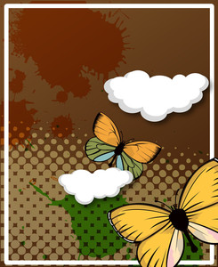Retro Butterflies Clouds Halftone Background
