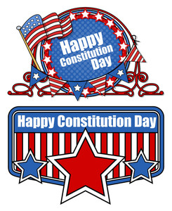 Retro Cartoon  Constitution Day Vector Illustration