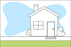Retro Cartoon House Vector Background