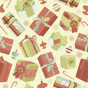 Retro Christmas Gift Boxes. Seamless Pattern