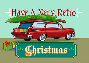 Retro Christmas Tree Station Wagon