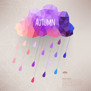 Retro Cloud With Rain Symbol Hipster Background Made Of Triangles Retro Background With Rain Drop Pattern.label Design. Square Composition With Geometric Shapes.weather Backdrop. Autumn Template.