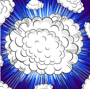 Retro Clouds Burst Background