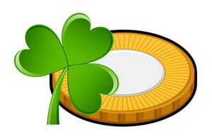 Retro Coin With Shamrock Vector Element