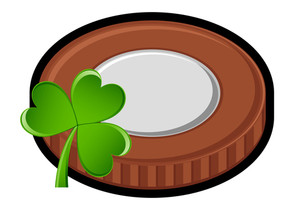 Retro Coin With Shamrock Vector