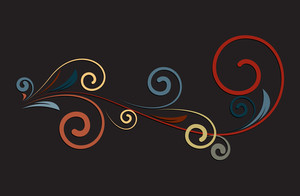 Retro Colored Flourish Elements