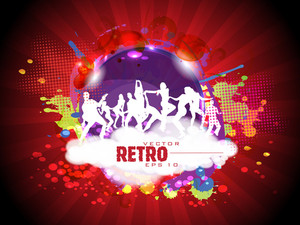 Retro Colorful Dance Carnival On Rays Background And Copy Space For Your Text.