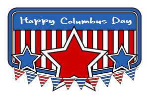 Retro Columbus Day Stars Banner Vector
