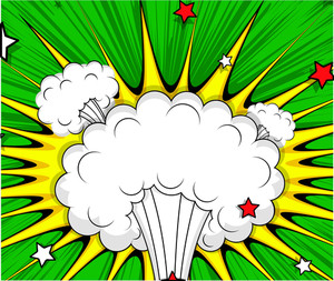 Retro Comic Cloud Burst Background
