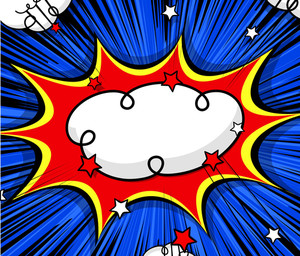 Retro Comic Clouds Burst Stars Backdrop