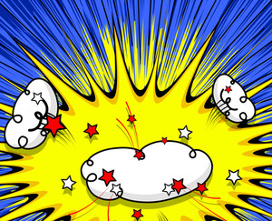 Retro Comic Clouds Stars Background