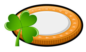 Retro Currency Coin With Shamrock Vector