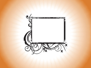 Retro Design Grunge Frame In Orange