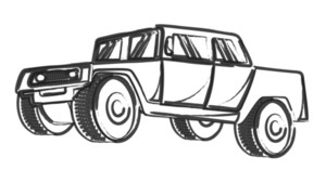 Retro Drawing Of Ancient Jeep Vehicle