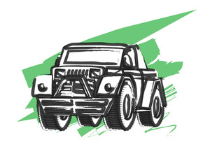 Retro Drawing Of Jeep Vector