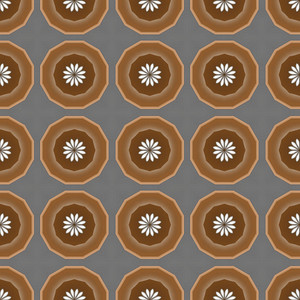 Retro Floral Circles Pattern