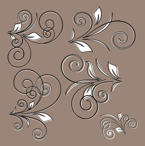 Retro Floral Design Vector Set